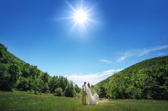 Bride and groom on the background of forest and blue sky Stock Image
