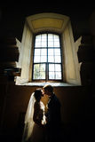 Bride and groom on the background of a window. Bride and groom posing on the background of a large window Stock Photos
