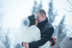 The bride and groom on the background of a winter city Royalty Free Stock Images
