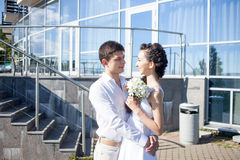 Bride and groom on the background of  yacht club Stock Image