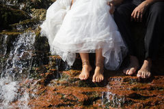 Bride and groom Bare Feet Closeup Stock Images