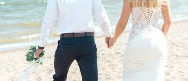 Bride and groom on the beach royalty free stock photo
