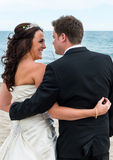 Bride and Groom on the Beach. Next to the Mediterranean Sea Stock Images