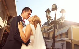 Bride an groom in a beautiful city royalty free stock photography