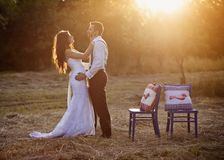 Bride and groom. Beautiful bride and groom portrait in nature stock photo