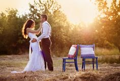 Bride and groom. Beautiful bride and groom portrait in nature stock images