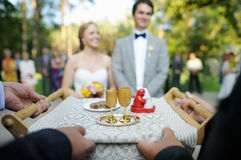Bride and groom being met by parents Royalty Free Stock Photography