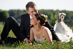 Bride and Groom being romantic Stock Photo
