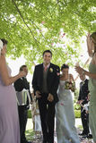 Bride And Groom Being Showered With Flower Petals Stock Photography