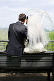 Bride and Groom on the bench Stock Photo