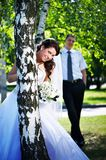 Bride and groom at the birches Royalty Free Stock Photography