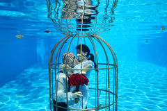 Bride and groom and a birdcage underwater pool water dive Stock Photography
