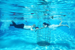 Bride and groom and a birdcage underwater pool water dive Royalty Free Stock Image