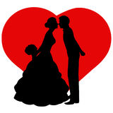 The bride and groom. The black silhouette of bride and groom on background heart. Also suitable for invitation card. Vector illustration Stock Images