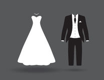 Bride and groom. A black and white bride and groom Stock Photo