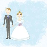 Bride and groom on blue background Royalty Free Stock Photos