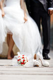 Bride And Groom. With bouquet flowers selective focus Royalty Free Stock Photography