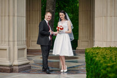Bride and groom with a bouquet of walking in the summer park Stock Photos