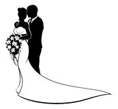 Bride and Groom Bouquet Wedding Silhouette. Bride and groom wedding couple in silhouette with white bridal dress gown holding a floral bouquet of flowers Stock Image