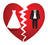 Bride and groom break up. A black and white bride and groom Royalty Free Stock Image
