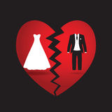 Bride and groom break up. A black and white bride and groom Royalty Free Stock Photo