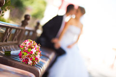 Bride and groom with bridal bouquet Royalty Free Stock Photography