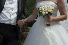 Bride and Groom with Bridal Bouquet Royalty Free Stock Photo