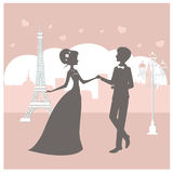 Bride and groom. Silhouette in Paris vector illustration. Newlyweds near Eiffel tower Stock Photos