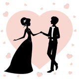 Bride and groom. Silhouette vector illustration. Newlyweds against the background of hearts Stock Photo