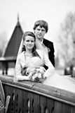 Bride and groom on bridge Royalty Free Stock Photos