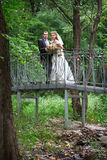 Bride and groom on bridge Royalty Free Stock Image