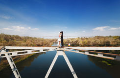 Bride and groom on the bridge over the river Stock Photos