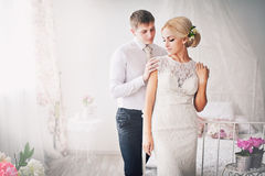 The bride and groom in bright interior Royalty Free Stock Photos