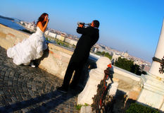 Bride and groom in Budapest Royalty Free Stock Images