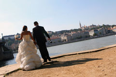 Bride and groom in Budapest Stock Image