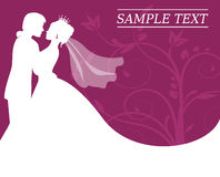 Bride and groom on a burgundy background with swirls. Silhouettes of the bride and groom on a burgundy background with swirls Stock Photo