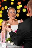Bride and groom at cafe Stock Image