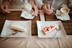 Bride and groom in a cafe royalty free stock photography
