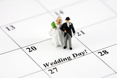 Bride and groom on calendar Stock Photography