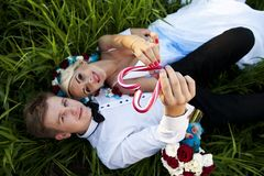 Bride Groom candy heart lollipop Stock Photo
