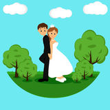 Bride and groom, Cartoon. Royalty Free Stock Image