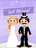 Bride and groom cartoon Stock Photography