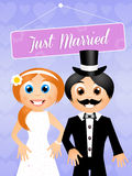 Bride and groom cartoon Stock Image