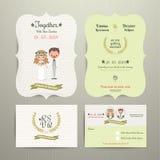 Bride & Groom Cartoon Romantic Farm Wedding Invitation Card and RSVP. Set on wood background Stock Photos