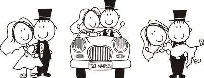 Bride and groom cartoon set. Set of isolated cartoon couple scenes, driving a car, carrying the bride and bride and groom hugging, ideal for funny wedding stock illustration