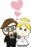 Bride and groom cartoon royalty free illustration