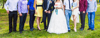 Bride And Groom Celebrating With Guests Royalty Free Stock Image