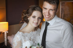 Bride and groom celebrating wedding Royalty Free Stock Photos