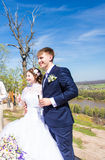 Bride and groom with champagne glasses in wedding day Stock Photo
