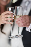 Bride and groom champagne toast Royalty Free Stock Photography